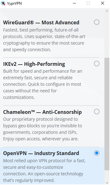 VyprVPN protocol selection menu