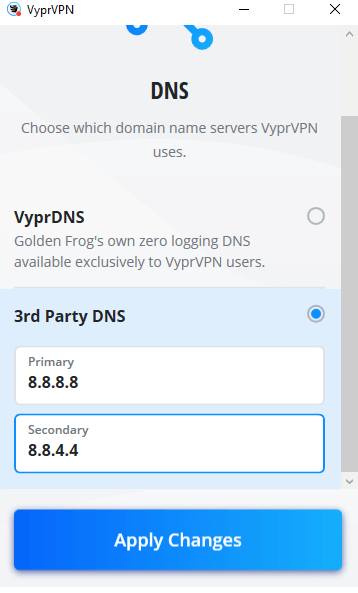 VyprVPN with Google DNS
