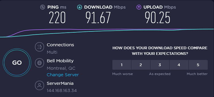 ivacy-speed-test-result-canada-server