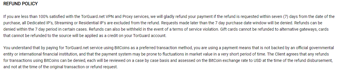torguard terms of servies