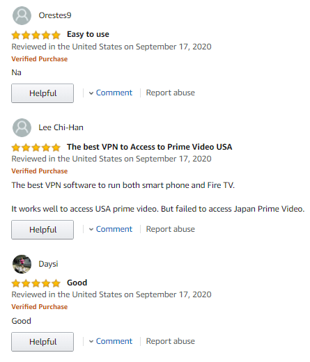 Positive comments for ExpressVPN on Amazon