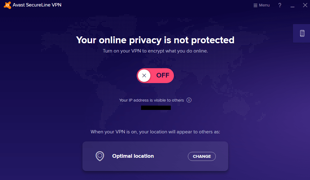 Avast VPN main menu