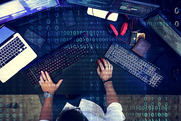 Programmer working about software cyberspace
