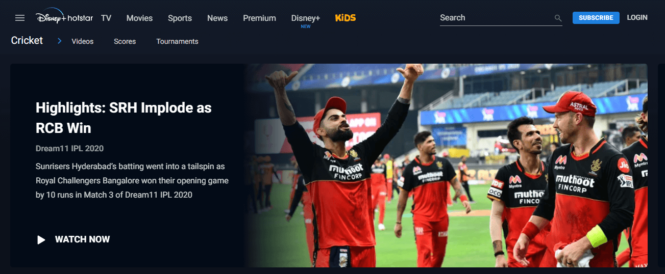Hotstar front page
