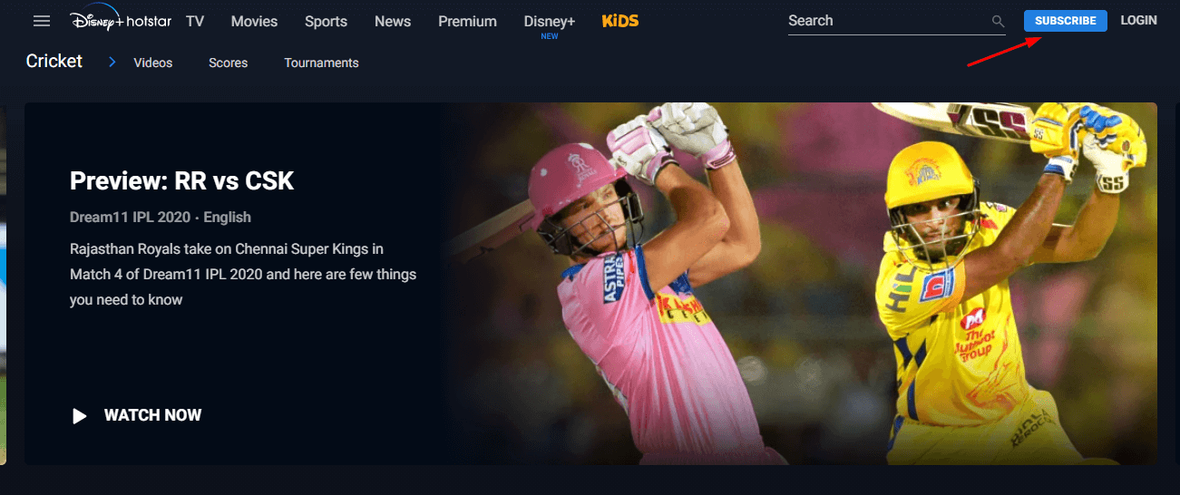 Hotstar subscribe button