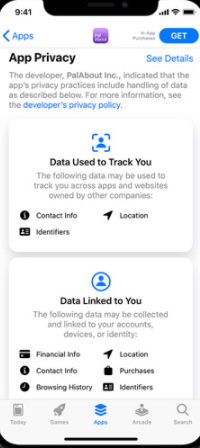 iOS App Store privacy details