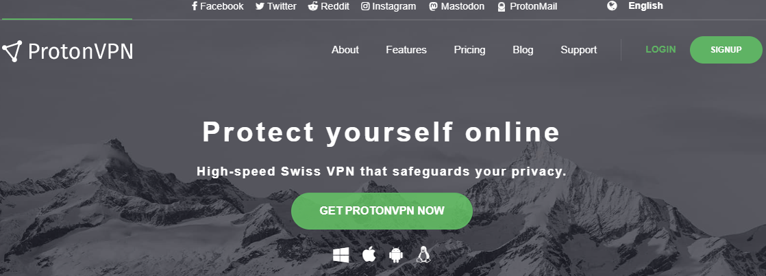 ProtonVPN official page