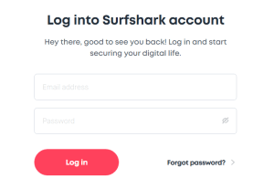 Surfshark-Login-screen