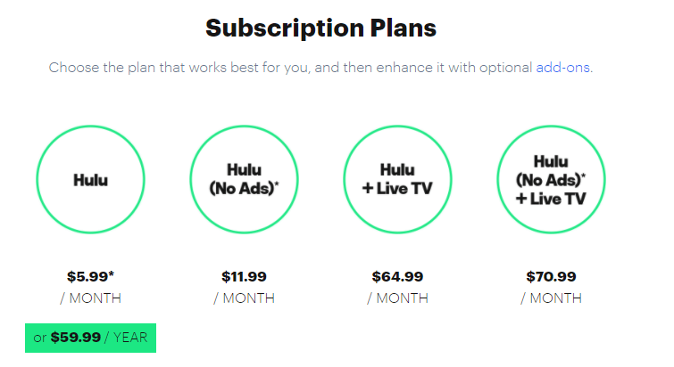 Hulu Subscription Plans